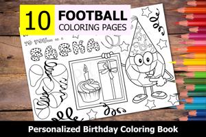 Football Theme Personalized Birthday Coloring Book