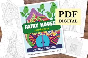Fairy Houses Coloring Book for Adults
