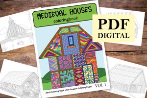 Medieval Houses Coloring Book for Adults