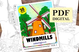 Windmills Coloring Book for Adults