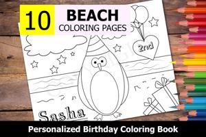 Beach Theme Personalized Birthday Coloring Book