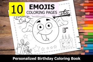 Emojis Theme Personalized Birthday Coloring Book