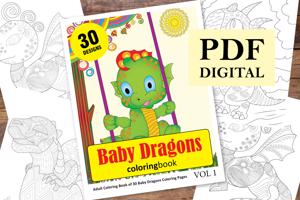 Baby dragon Coloring Book for Adults