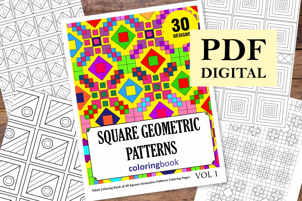 Square Geometric Patterns Coloring Book for Adults