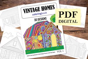 Vintage Homes Coloring Book for Adults