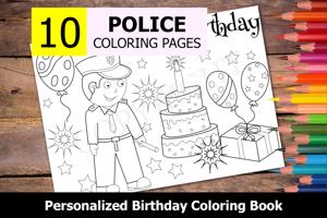 Police Theme Personalized Birthday Coloring Book