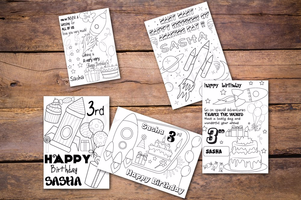 Rockets Theme Personalized Birthday Coloring Book